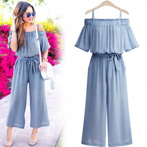 Blue Pleated Sashes Bow Off Shoulder Going out Long Jumpsuit
