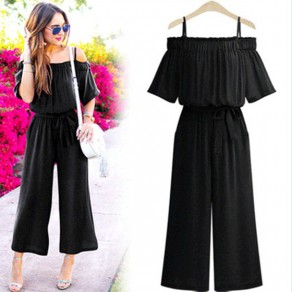 Black Pleated Sashes Bow Off Shoulder Going out Long Jumpsuit