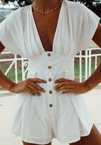 White Single Breasted One Piece V-neck High Waisted Going out Short Jumpsuit