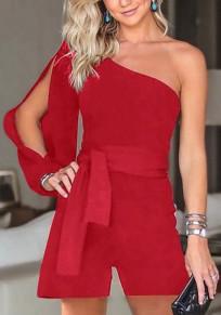 Shorts jumpsuit asymétriques épaules mode mode rouge