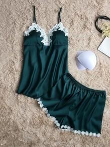 Blackish Green Patchwork Lace Condole Belt Two Piece Casual Short Jumpsuit