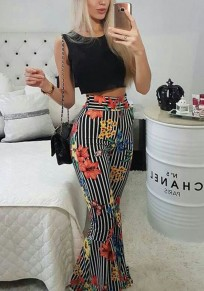 Black Striped Floral Two Piece High Waisted Casual Flare Bell Bottom Long Jumpsuit