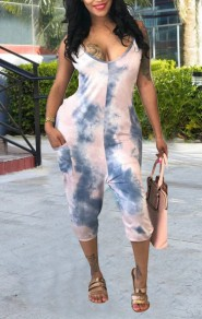 Pink Tie Dye Pockets Spaghetti Strap Backless Party Seven's Jumpsuit