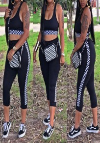 Black Plaid Shoulder-Strap Two Piece Sports Casual Short Jumpsuit