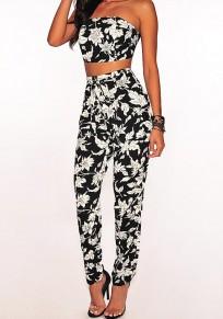 Black White Floral Print Two Piece Bandeau Off Shoulder High Waisted Tie Back Long Jumpsuit