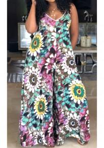 Pink Floral Print Pockets Spaghetti Strap Backless Bohemian Wide Leg Long Jumpsuit