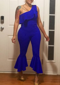 Blue Ruffle Asymmetric Shoulder High Waisted Elegant Party Flare Bell Bottom Nine's Jumpsuit