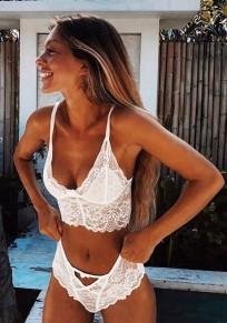 Weiß Spitze Cut Out Spaghettiträger V-Ausschnitt 2 Teile Damen Bikini Set Bademode Unterwäsche Push Up BH Set