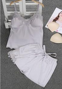 Grey Patchwork Condole Belt 2-in-1 Lace Elastic Waist Short Jumpsuit
