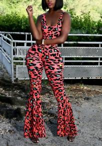 Orange Leopard Print Shoulder-Strap U-neck High Waisted Bodycon Flare Bell Bottom Long Jumpsuit