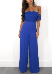 Combinaison dentelle bandeau à épaule large dos nu taille haute élégant jambe large bleu