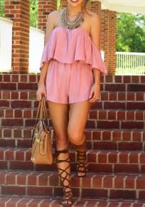 Pink Ruffle High Waisted Fashion Short Jumpsuit