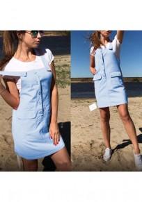 Blue Single Breasted Pockets Shoulder-Strap Cute Short Jumpsuit
