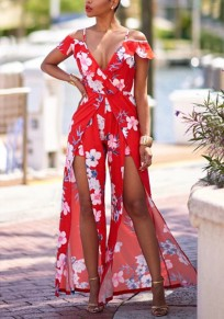 Red Floral Ruffle Slit Spaghetti Strap High Waisted Bohemian Elegant Party Long Jumpsuit