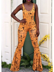Yellow Tie Dye Shoulder-Strap Backless High Waisted Party Flare Bell Bottom Long Jumpsuit