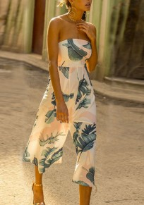 White Floral Print Off Shoulder Backless High Waisted Wide Leg Nine's Jumpsuit