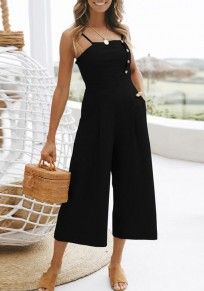 Black Draped Studded Spaghetti Strap Backless Going out Wide Leg Nine's Jumpsuit