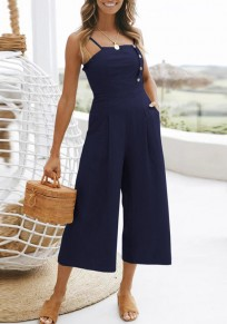 Sapphire Blue Draped Studded Spaghetti Strap Backless Going out Wide Leg Nine's Jumpsuit