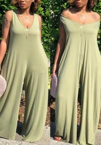 Light Green Draped Hooded Wide Leg Shoulder-Strap Deep V-neck Casual Long Jumpsuit