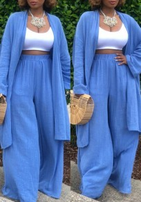 Blue Draped Two Piece Cardigan High Waisted Wide Leg Casual Long Jumpsuit