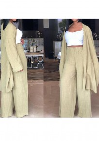 Light Green Draped Two Piece Cardigan High Waisted Wide Leg Casual Long Jumpsuit