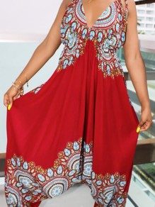 Red African Print Draped Spaghetti Strap Backless High Waisted Bohemian Long Jumpsuit