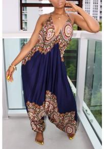 Dark Blue African Print Draped Spaghetti Strap Backless High Waisted Bohemian Long Jumpsuit
