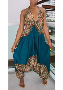 Light Blue African Print Draped Spaghetti Strap Backless High Waisted Bohemian Long Jumpsuit