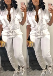 White Drawstring Pockets Single Breasted Turndown Collar Casual Long Jumpsuit