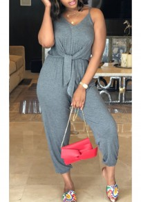 Grey Sashes Spaghetti Strap V-neck One Piece Casual Nine's Jumpsuit