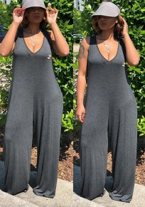 Grey Pockets One Piece Hooded V-neck Beachwear Oversize Casual Wide Leg Long Jumpsuit