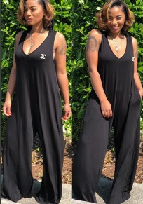 Black Pockets One Piece Hooded V-neck Beachwear Oversize Casual Wide Leg Long Jumpsuit