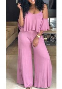 Pink Ruffle Cut Out Spaghetti Strap U-neck Elegant Party Wide Leg Long Jumpsuit