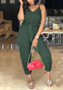 Army Green Sashes Spaghetti Strap Backless V-neck Going out Nine's Jumpsuit