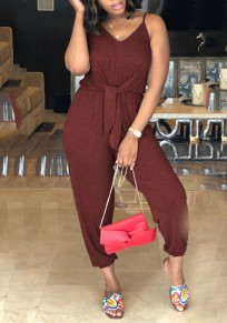 Date Red Sashes Spaghetti Strap Backless V-neck Going out Nine's Jumpsuit