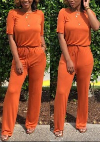 Orange Drawstring Pockets Cut Out One Piece Going out Long Jumpsuit