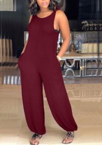 Burgundy Pockets Shoulder-Strap BacklessBeachwear Casual Long Jumpsuit