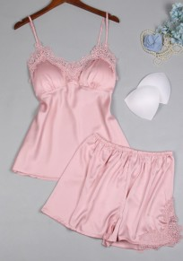 Pink Patchwork Lace Two Piece Spaghetti Strap V-neck Casual Short Jumpsuit