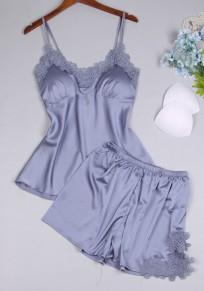 Pantalones cortos mono encaje de dos piezas correa de espagueti v-cuello casuales gris azul