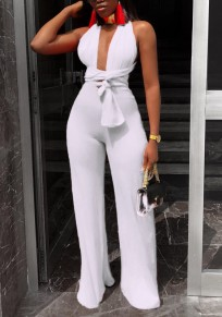 White Sashes Lace-up Backless Deep V-neck Clubwear Party Wide Leg Long Jumpsuit