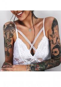 White Patchwork Lace Cut Out Cross Back Fashion Short Jumpsuit