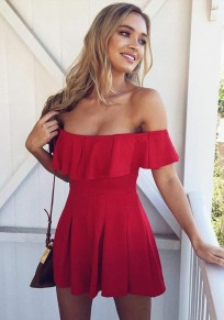 Red Draped Streetwear Short Jumpsuit