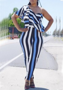 Blue-White Striped Ruffle Asymmetric Shoulder High Waisted Elegant Casual Long Jumpsuit