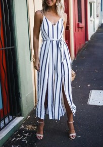 White Striped Sashes Side Slit Spaghetti Strap Flowy V-neck Elegant Party Long Jumpsuit