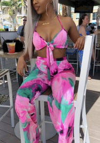Pink Tie Dye Halter Neck Backless Two Piece Deep V-neck Party Long Jumpsuit