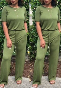 Green Pockets Drawstring Cut Out Going out Casual Wide Leg Long Jumpsuit
