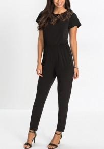 Combinaison longue habillée avec dentelle manches courtes élégant femme noir