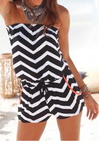 White Striped Drawstring Bandeau Casual Short Jumpsuit