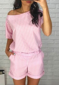 Pink Plaid Print Asymmetric Shoulder Pockets Going out Casual Short Jumpsuit