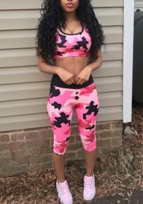Rosa Tarnung Drucken zwei Stück U-Ausschnitt Sport Yoga Seven Jumpsuit